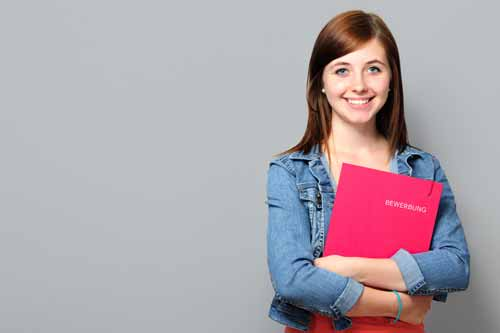 Young woman with application portfolio